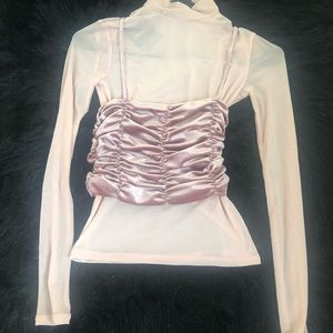 Pink Ruched Long Sleeve